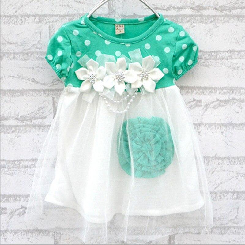 Baby Kids Dress  Floral Dot Print Crew Neck Dress Summer Short Sleeve YTUB0 childrendlor baby brocade floral print