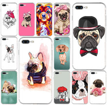 Pug filhote de cachorro Do Gato Do Coelho Princesa Buldogue Francês Macio TPU Silicone Case Capa Para Apple iPhone5 5S se 6 6 s 7 8 plus x xr xs max coque(China)