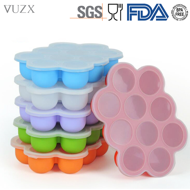 Silicone Baby Food Freezer Tray With Cover Lid Reusable Mold Storage