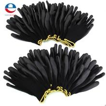 Новое поступление 12 пар Черные Нейлоновые ПУ защитные рабочие перчатки строительные рукавицы с захватом для пальмового покрытия перчатки