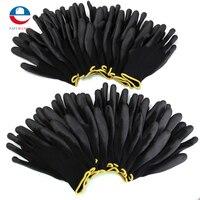 มาใหม่12คู่สีดำไนล่อนPUถุงมือทำงานความปลอดภัยผู้สร้างG Ripสำหรับปาล์มถุงมือเคลือ