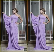 Hot Sale 2015 Abaya Dubai Kaftan One Shoulder Beaded Lilac Chiffon Islamic Dress Turkish Jilbab Evening Gown Formal Party Dress