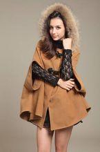 2016 Bestselling Hot Cashmere wool autumn and winter Women wool coat cloak overcoat fur collar cloak woolen outerwear cape