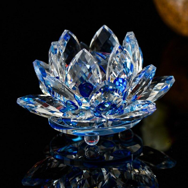 XINTOU Crystal Lotus Flower Ornaments Feng shui Home Dekorativní figurky 8 CM kreativní svatební objekt dekorace řemesla dárková krabička