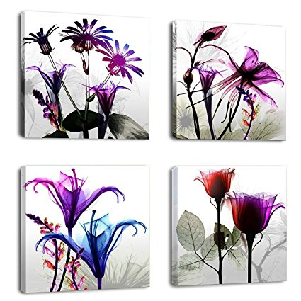 4 stücke Flicking Blumen Bilder Fotodruck auf Leinwand Modulare - Wohnkultur - Foto 1