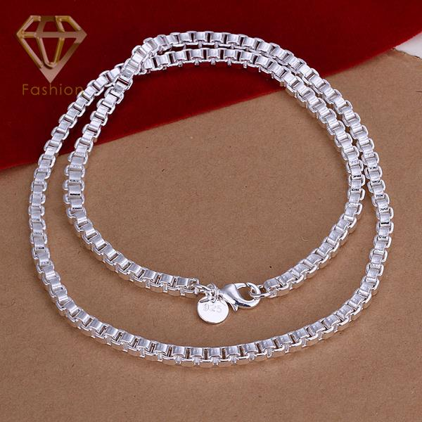 PP Jewellers Recommend Fashion 18Inches 4MM Silver Plated Chains Jewelry Mens Necklace Aberdeen Box Necklace Jewelry