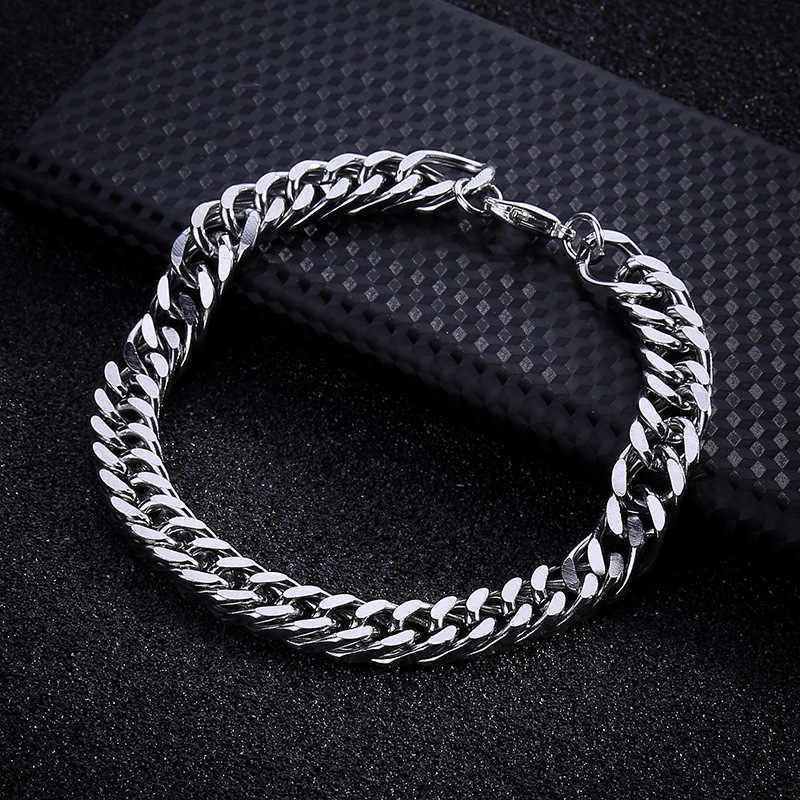 AMGJ Stainless Steel Bracelet Punk Vintage Hip Hop Chain Jewelry Silver Bracelet for Men Male Bangle Cuff Chain Bracelet