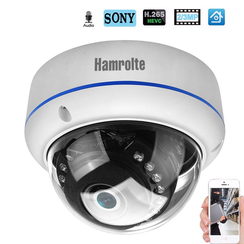 Caméra IP Hamrolte H.265 SONY IMX323 UltraLow Illumination 3MP 2MP caméra dôme anti-vandalisme enregistrement Audio détection de mouvement ONVIF