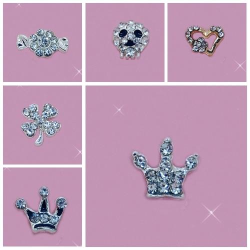 Forma Pregos da arte Do Prego 3D Crown, amor do coração de diamante Liga decorações sacos incluem 100 peças frete grátis lote misto de apoio