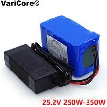 Varicore 24v 6s 4a 6a 8a 10a 18650 bateria, pacote de 25.2v 12ah li-ion bateria para bicicleta motor + carregador para bicicleta 350w e 250w
