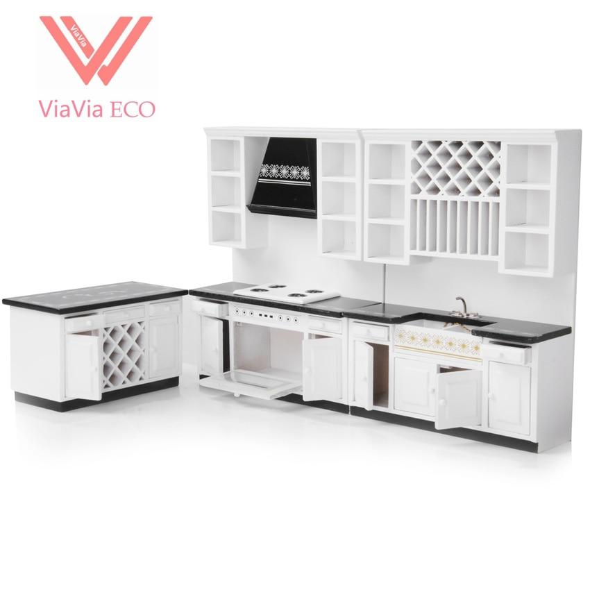 oMoToys VIAVIA ECO 1/12 Scale Dollhouse Miniature Furniture 1:12 Wooden Delxue Kitchen Set ,White цена