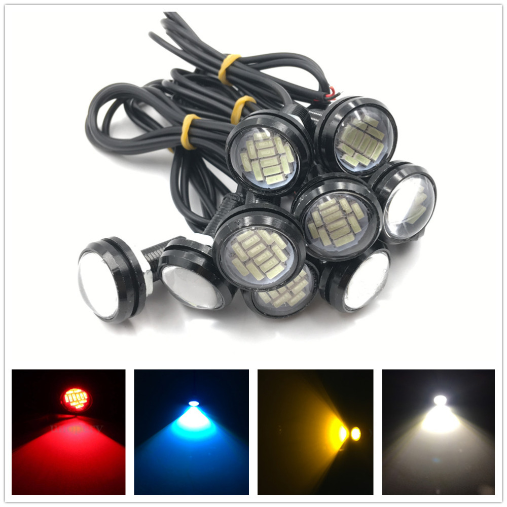 CYAN SOIL BAY 10pcs 15W 12LED 12SMD Eagle Eye Light Car Parking Signal Lamps DRL Reverse Backup Lights 12V Red Blue Amber White ...