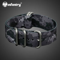 D'infanterie 22mm Noir Camo Bracelets Durable Nylon Bracelets Avec Haute Qualité 5 Anneaux Armée Sport Montres Accessoires