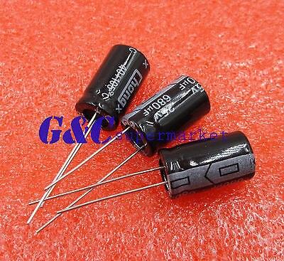 10PCS 680uF 25V 105C Radial Electrolytic Capacitor 10mm*17mm