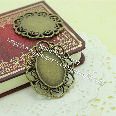 Sweet Bell 10pcs Antique Bronze Metal Alloy Cameo Filigree 18*25mm Oval Cabochon Settings Jewelry Pendant Blanks Charms  D0036