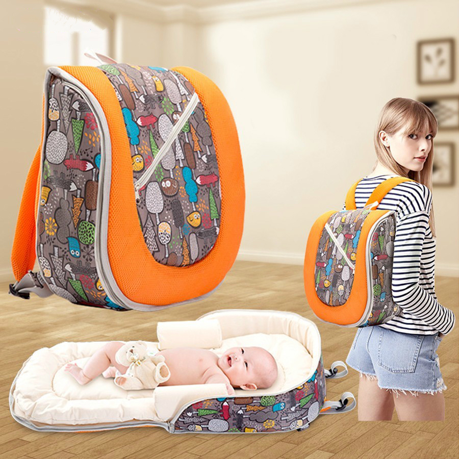 цена на Multi-function Baby Travel Portable Baby Crib Bed Maternity Backpack Foldable Co-Sleepers For Nappy Nursing Diaper Bag Mummy Bag