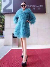 New winter x-long 90cm length Europe whole skin Beach wool fur coat lamb fur jacket female mongolia sheep fur coats