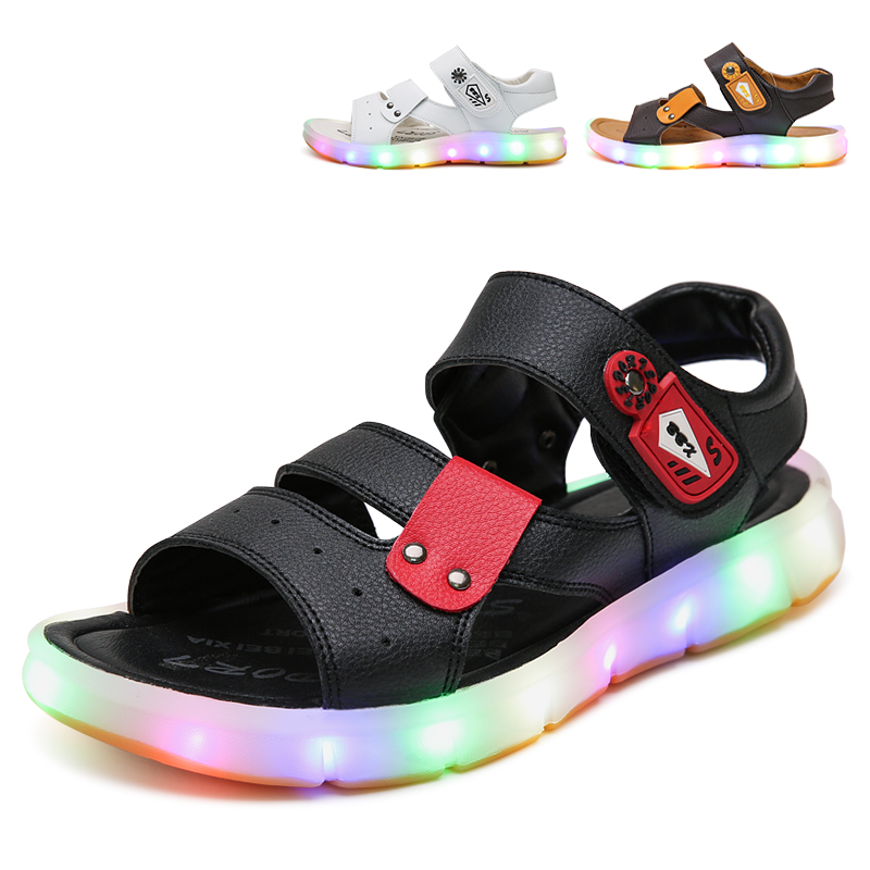 BBX Brand 2017 Summer Mixed Color New Kid Led Beach Sandals With Switch For Boys And Girls Comfortable Children Light Up Shoes