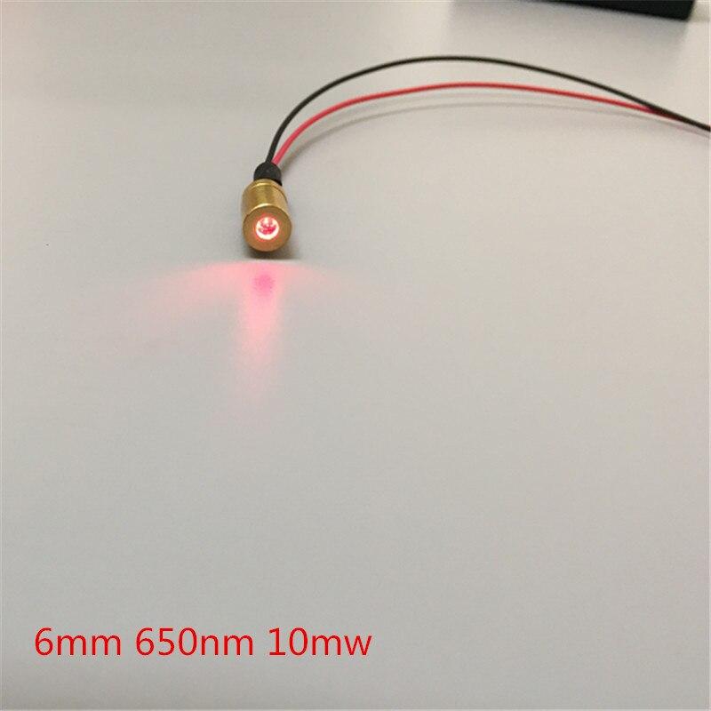 6mm 650nm 10mW Red Dot Laser Module Industrial Grade APC Driver