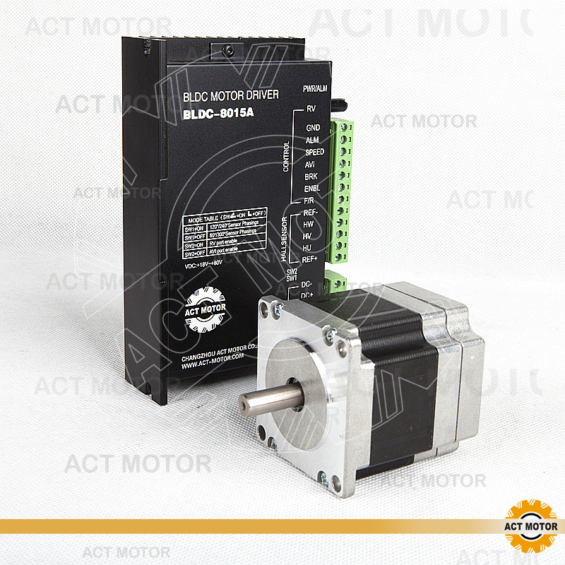 ACT Motor 1PC Nema23 Brushless DC Motor 57BLF01 24V 63W 3000RPM 3Ph Single Shaft+1PC Driver BLDC-8015A 50V CNC Router Foaming brushless motor driver 24v 200w bldc motor driver controller for 180w dc dc fan or motor 7 15a