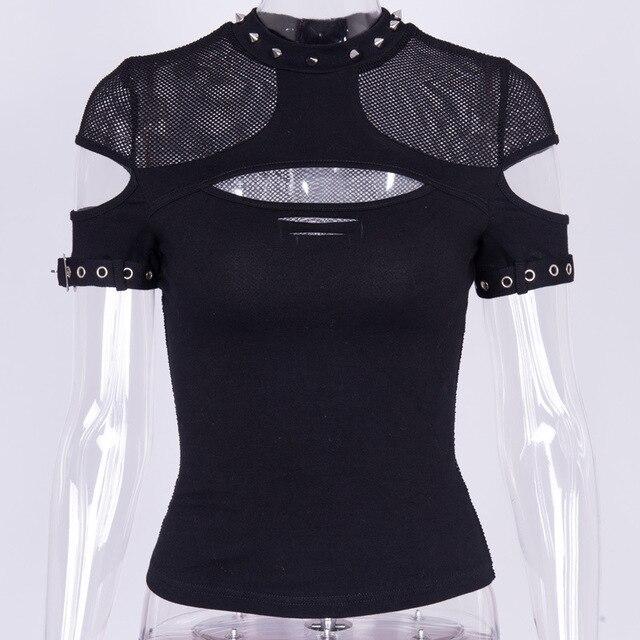 Goth foncé Grunge élégant Transparent T-shirts Style gothique Punk évider maille été T-shirt Patchwork Sexy mode 2020 hauts