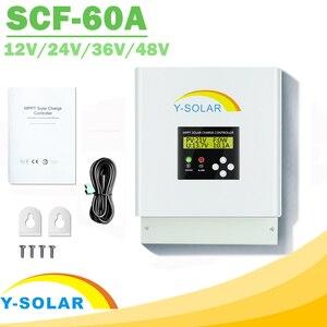 Image 1 - MPPT 12В 24В 36В 48В 60A Контроллер заряда солнечной панели для макс. 150 в вход двойной вентилятор охлаждения Солнечный контроллер с RS485