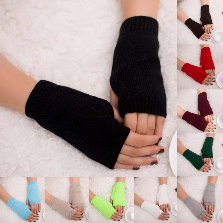 MUQGEW Beautiful Women Girl Exquisite Knitted Crochet Arm Fingerless Warm Thermal Winter Gloves Soft Warm Glove Mittens