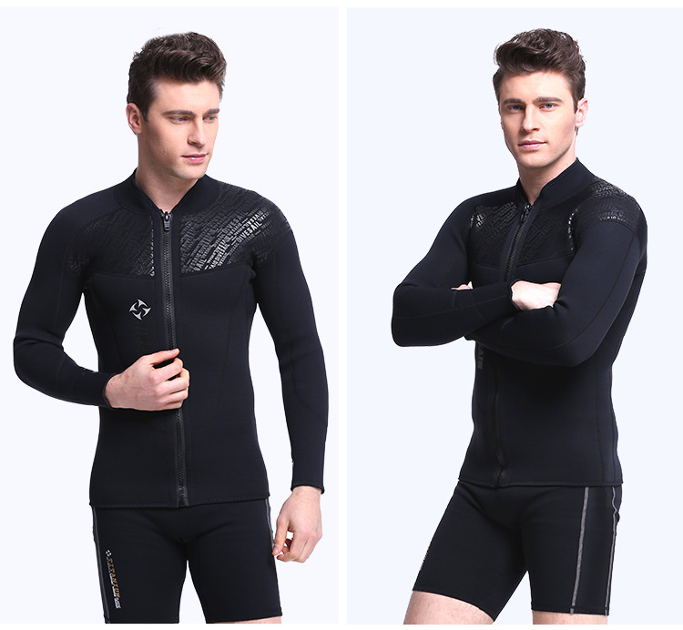 3mm Mens Long Sleeve Jacket Wetsuit Black Scuba Diving Jacket Surf Dive Snorkeling Spearfishing For Male Surfing Wet Suit Top