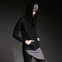 2017 Donker Zwart Grijs Avant Edgy Onbalans Pocket Hoodies Tops mannen Night Clubwear Punk Kostuum Lange Mouw T-shirt Tees