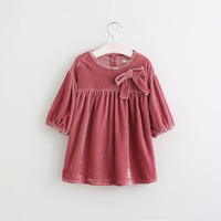 2017 Girls Vintage Bow Corduroy Ruffles Spring Fall Dress Candy Color Cute Baby Party Western Dress