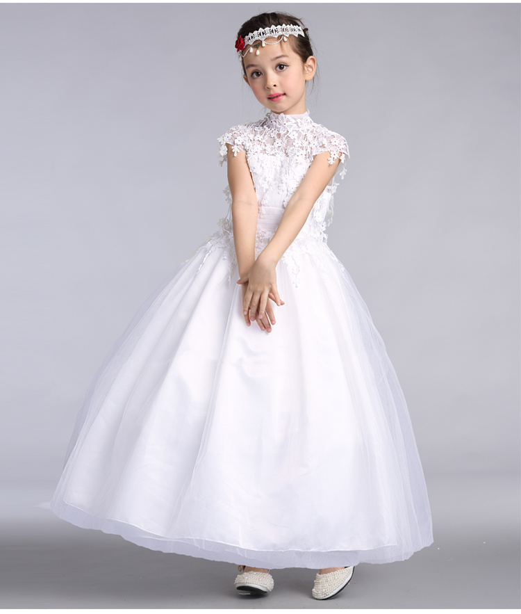 Children Gowns For Wedding: 2016 Elegant Long Wedding Dress For Flower Girls Solid