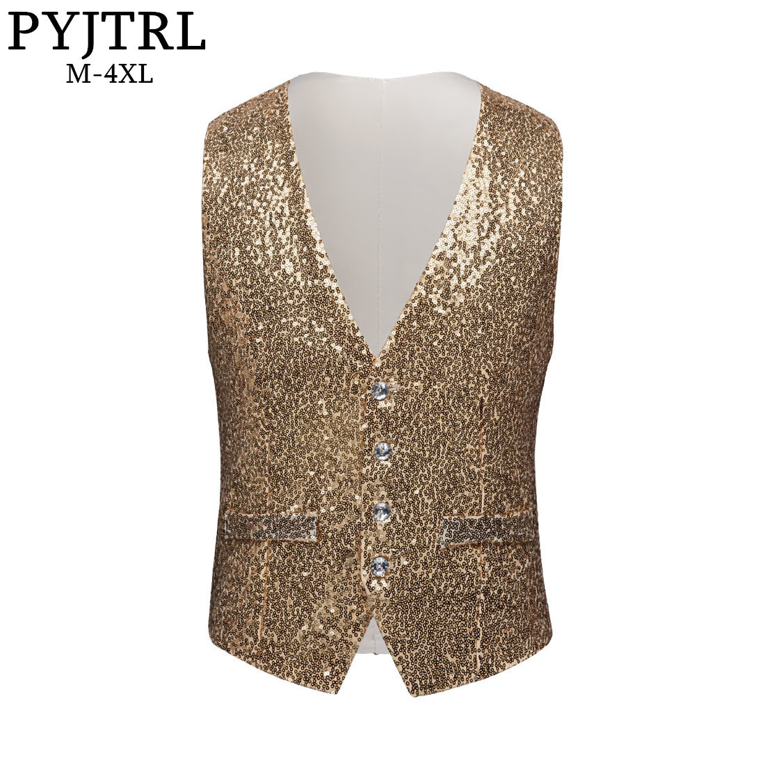PYJTRL Men Paillette Waistcoat Luxurious Gold Silver Red Blue Full Sequins Wedding Groom Vest Gilet Homme DJ Bar Singers Costume