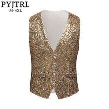 PYJTRL Men Paillette Waistcoat Luxurious Gold Silver Red Blue Full Sequins Wedding Groom Vest Gilet Homme DJ Bar Singers Costume