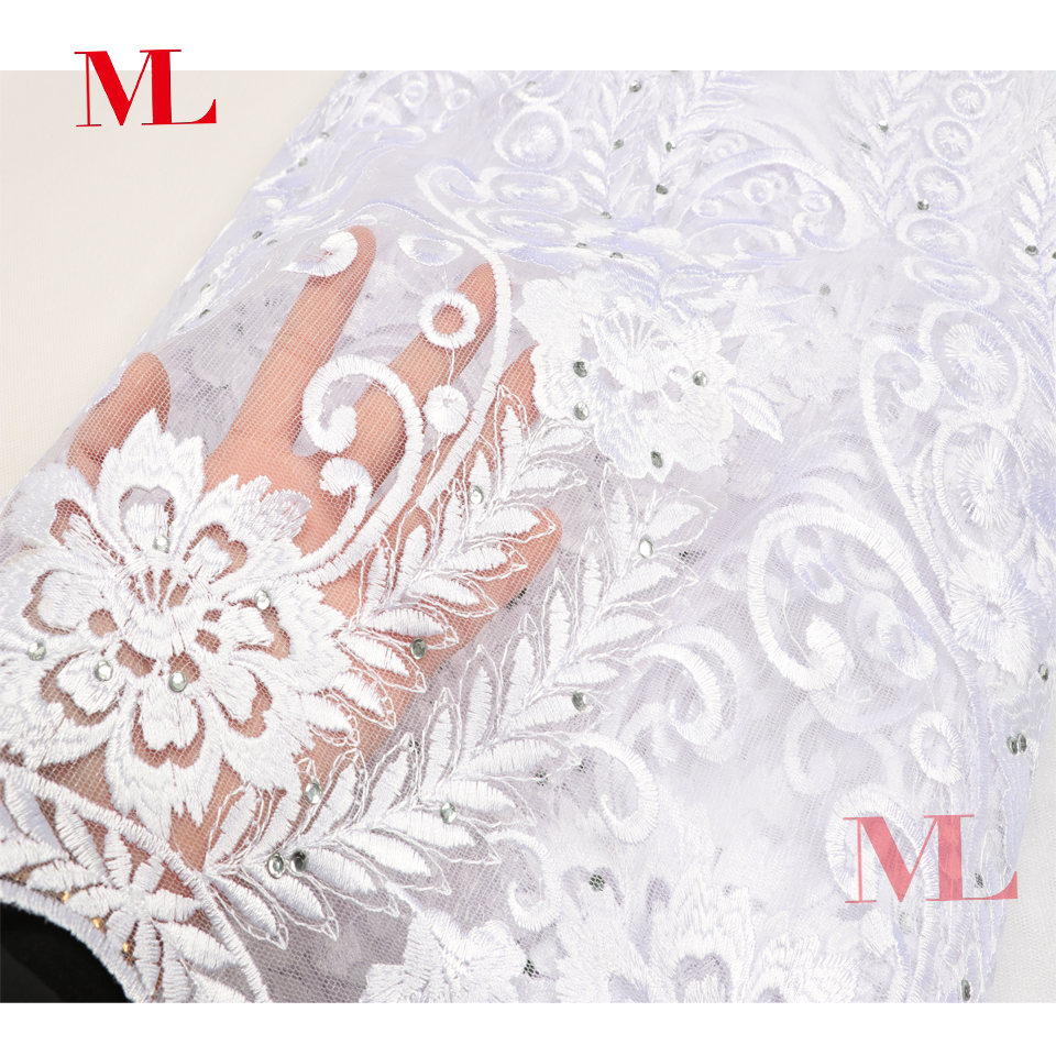 ML Hot Sale 5Yards Nigerian White French Lace Stone African lace Fabric net french high quality