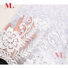 ML Лидер продаж 5 метров в нигерийском стиле белый французского кружева камень африканских кружевная ткань чистая французский высокого качества Стразы вышитый тюль