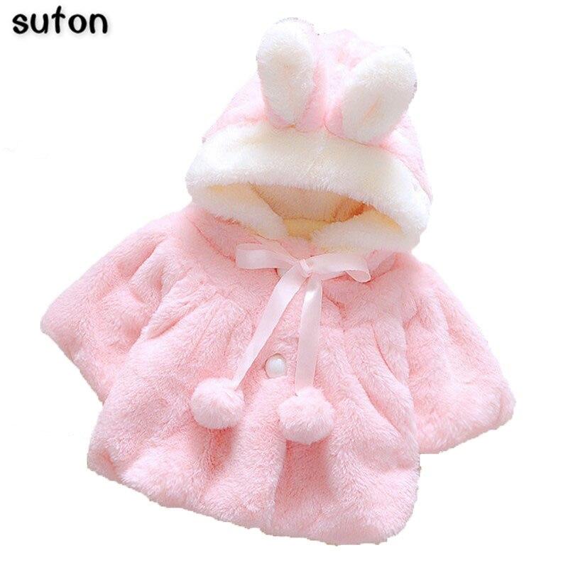 2017 новые новорожденных девочек сладкий форма животное Пальто Зима теплая Куртка дети уютный Фланелевое Clothing Симпатичные Бантом Куртка babyGirls Clothing