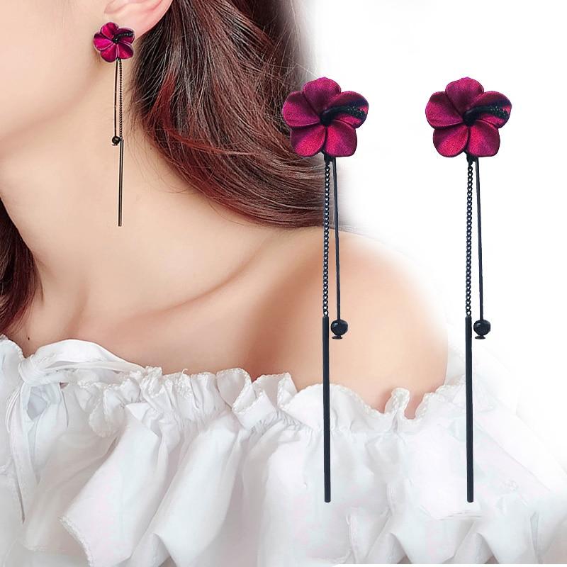 Retro green flowers Tassel earrings temperament long pendant ear pendant style lady ear nail