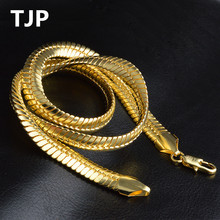 TJP Luxury 9MM Snake Necklace For Mann Party Jewelry Top Fashion Men Gold Choker Lovers Birthday Valentines Day Gift