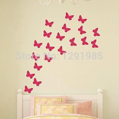 Free shipping diy butterfly removable pvc wall sticker home decor decals custom made home decoration 2017