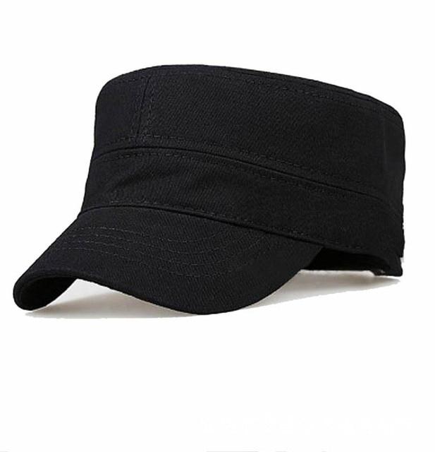 US $5 35 50% OFF|Hat Men's Flat Cap Simple Monochrome Army Hat Wholesale  Classic Outdoor Flat Cap Men and Women Single Hat Military Cap LU0379-in