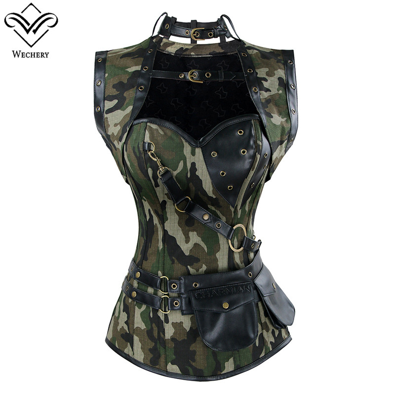 Wechery Army Green   Corset   Military Style   Bustier   Tops for Women Hollow Out Lace Up   Corsets   with Choker Camouflage Body Shapers