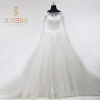 Applique Top Keyhole Back Lace Up Pure Ivory Large Volume Tulle Skirt A Line Luxury Train Long Sleeves Church Wedding Dress 2018