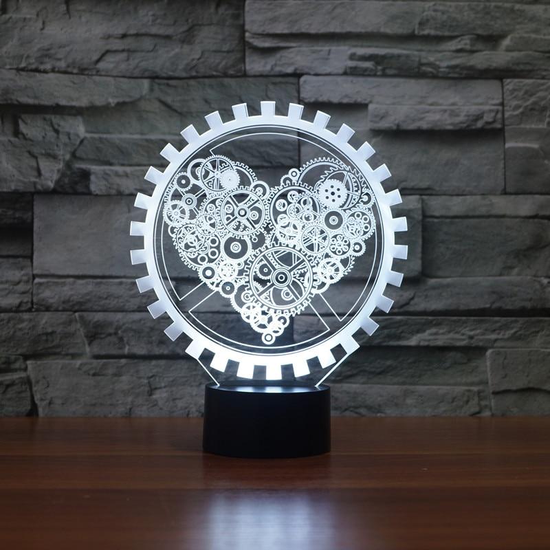 Steam punk Style 3D Night Light Gear Love Heart Lamp USB LED Lighting Table Decor Bedside Nightlight for Children 3d led lamp usb night love heart