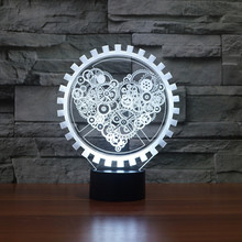 цена на Steam punk Style 3D Night Light Gear Love Heart Lamp USB LED Lighting Table Decor Bedside Nightlight for Children