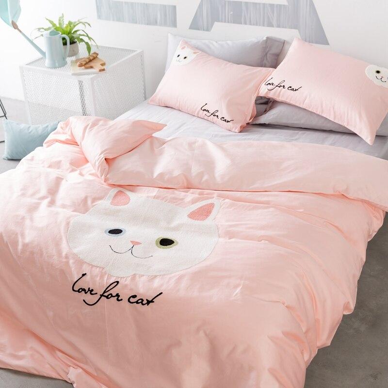 Cartoon Cat Duvet Cover Set Queen King Size Bedding Set