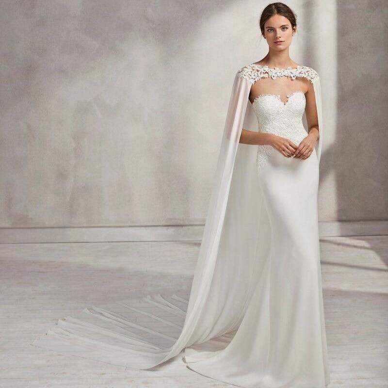 Fancy Long Bridal Bolero With Lace Appliques Sweep Train Wedding Cape