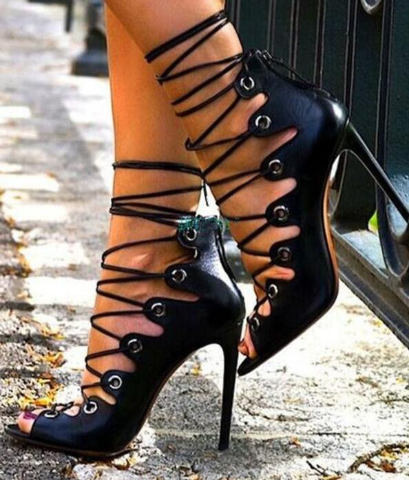 High quality Summer  Women PU Cross-tied Gladiator Sandals  Lace-up High Heel  Sandals Female Sexy Party shoes pointed toe flats women 2017 summer shoes gladiator flats cross tied sandals lace up low heel to wear woman close toe