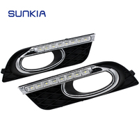 SUNKIA Specific Daytime Running Lights Car LED DRL for Honda Civic 9th 2011 2015 Fog Lamp Cover with Turn Signal Dimmed Light