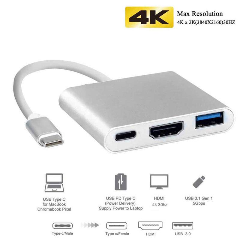 Uosible Thunderbolt 3 מתאם USB סוג C רכזת כדי HDMI 4K תמיכה סמסונג דקס מצב USB-C Doce עם פ
