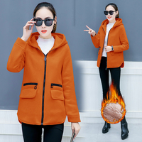 new women's clothing fall and winter of hooded fleece loose leisure and velvet zipper long sleeve casual clothes